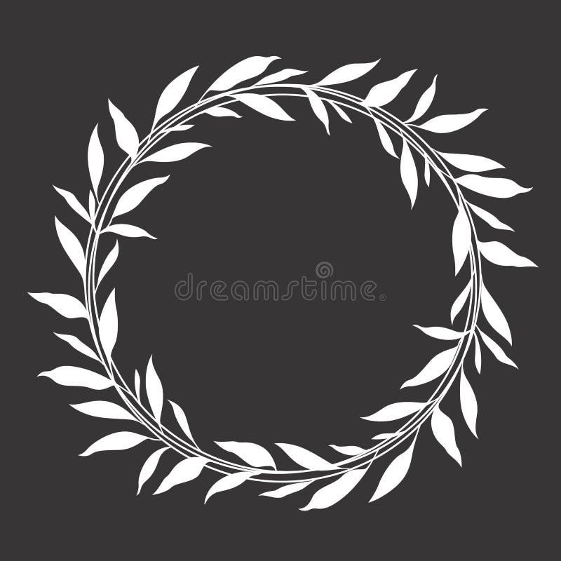 白色叶子花圈圈子框架传染媒介设计 库存例证