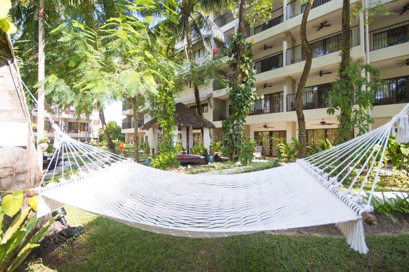 白色吊床在旅馆庭院里  库存照片