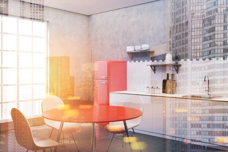 白色和具体厨房,被定调子的红色桌边 皇族释放例证