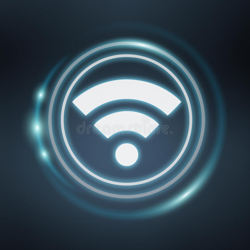 白色和发光的蓝色wifi象3D翻译 皇族释放例证
