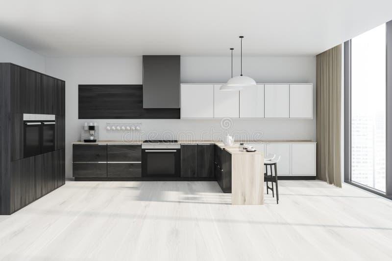 白色和木厨房内部 向量例证