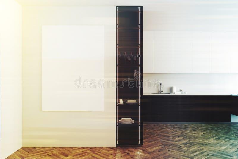 白色和木厨房,被定调子的海报 库存例证