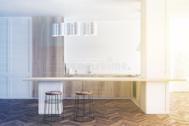 白色和木厨房,被定调子的酒吧 库存例证