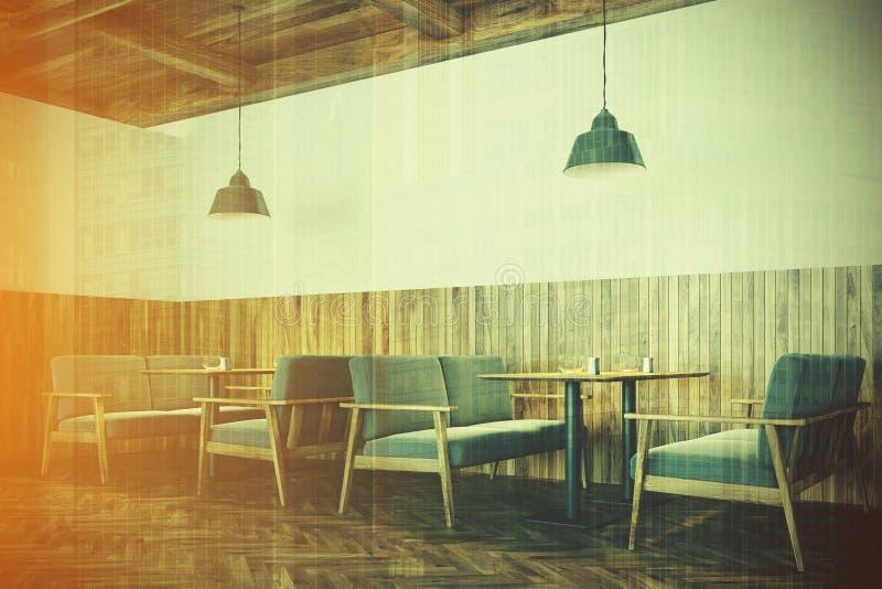 白色和木咖啡馆内部,沙发支持定调子 库存例证