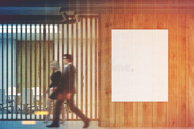 白色和木招待会,被定调子的会议室 免版税库存照片
