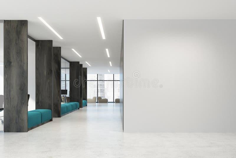 白色和木露天场所办公室,蓝色沙发 皇族释放例证