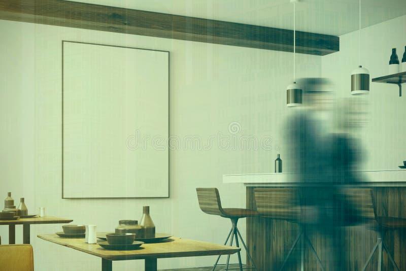 白色和木餐馆,被定调子的海报边 库存例证