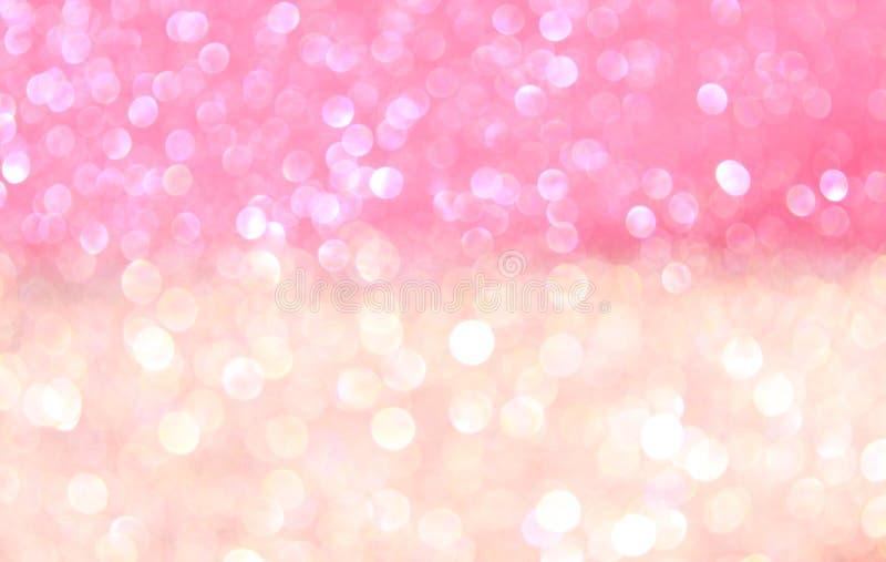 白色和桃红色抽象bokeh光。 免版税库存图片