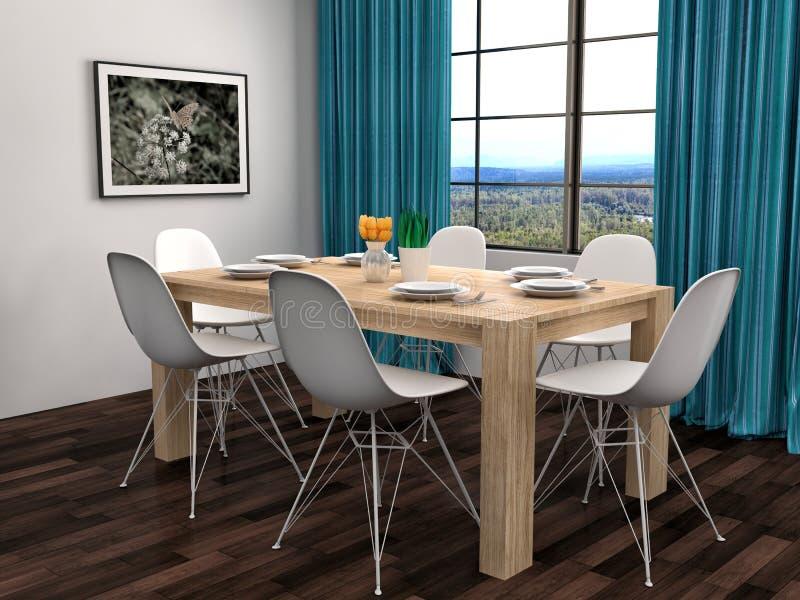 白色和棕色地板的厨房 3d例证 库存例证