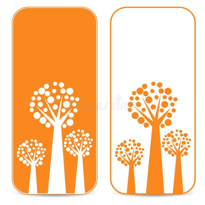 白色和橙树 向量例证