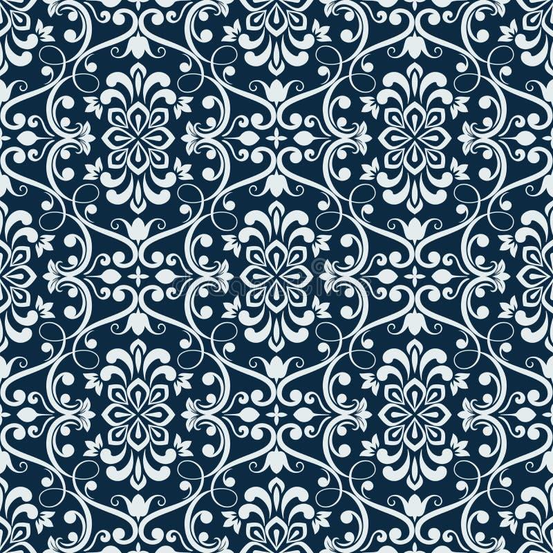 白色和深蓝无缝的花卉墙纸 库存例证