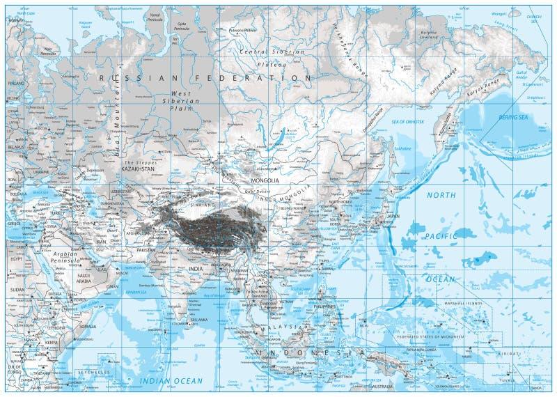 白色和灰色亚洲的颜色物理地图 库存例证