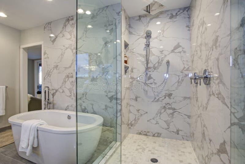 白色和灰色加尔各答大理石卫生间设计 库存照片