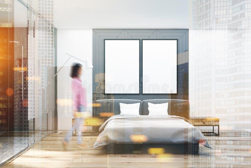 白色和灰色卧室,被定调子的海报 皇族释放例证
