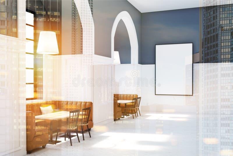 白色和灰色咖啡馆,被定调子的木桌 皇族释放例证