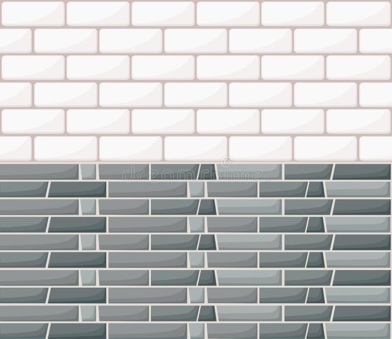 白色和灰色墙壁砖背景 土气块纹理模板 无缝的模式 积木的传染媒介例证 网 向量例证