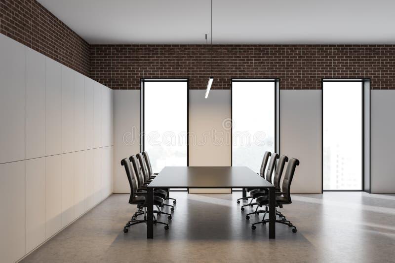 白色和砖会议室内部 库存例证