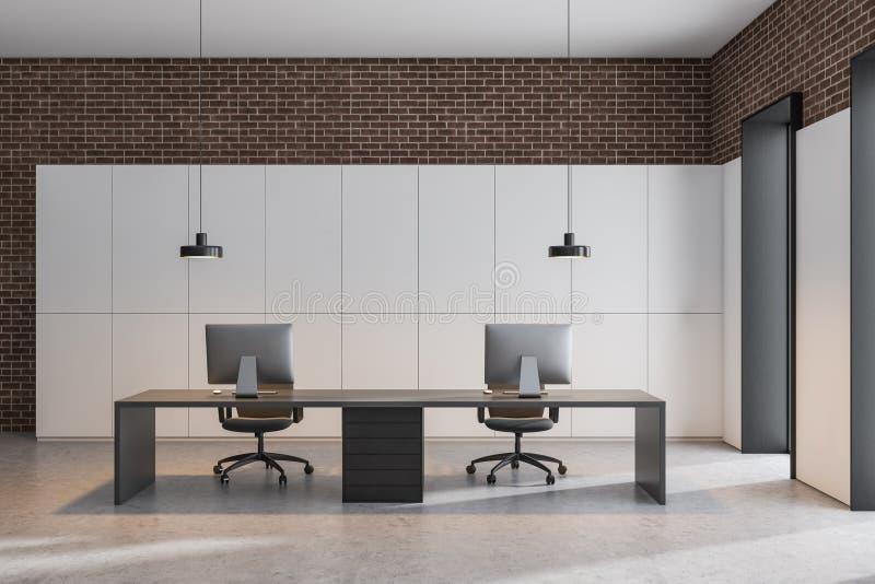 白色和砖办公室工作场所 皇族释放例证