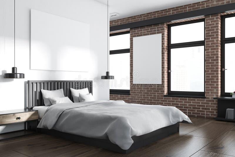 白色和砖卧室角落,海报 皇族释放例证