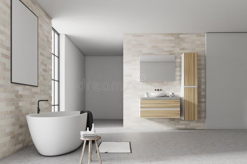 白色和砖卫生间内部海报 库存例证