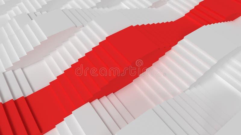 白色和红色台阶现实3d回报概念 向量例证