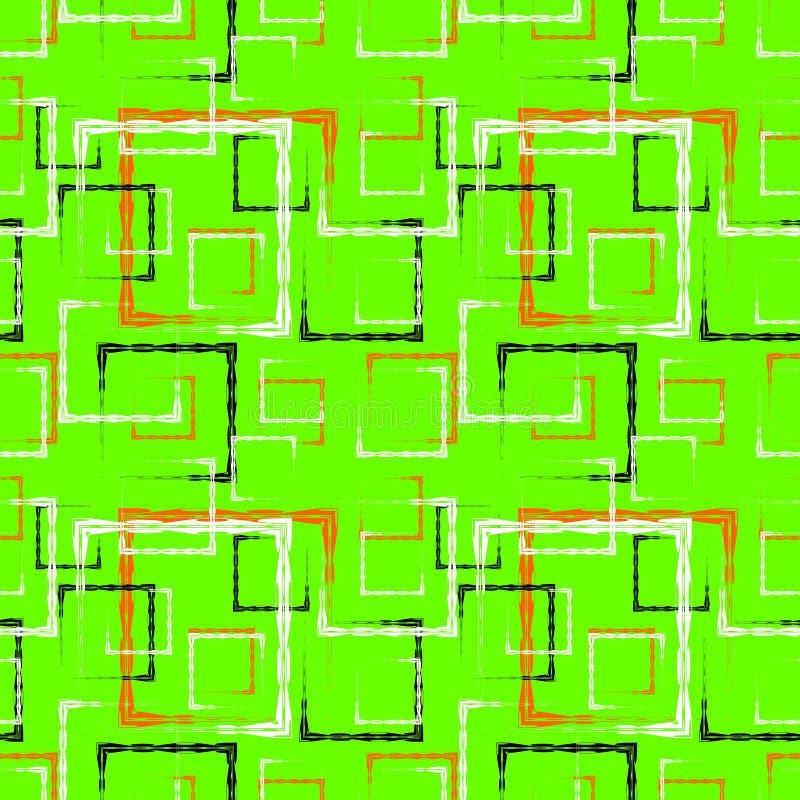 白色和红色被雕刻的正方形和黑框架的一个抽象绿色背景或样式 向量例证