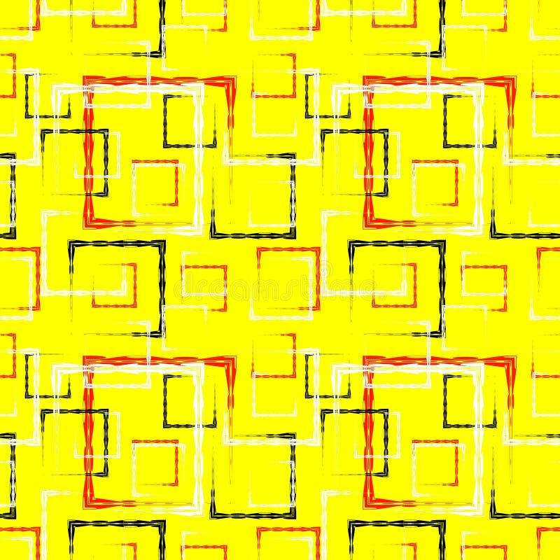 白色和红色被雕刻的正方形和黑框架的一个抽象黄色背景或样式 向量例证