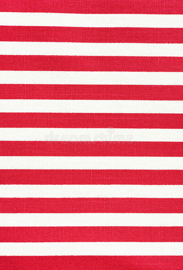 白色和红色镶边织品纹理 免版税库存图片
