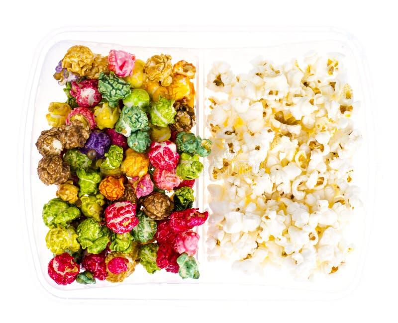 白色和给上釉的玉米花 免版税图库摄影