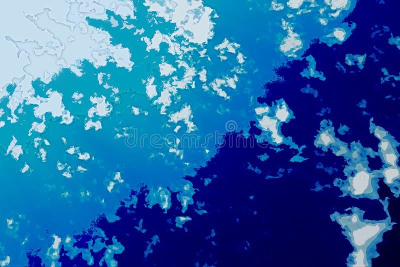 白色和蓝色抽象背景纹理 与北部海岸线,海,海洋,冰,山,云彩的幻想地图 皇族释放例证