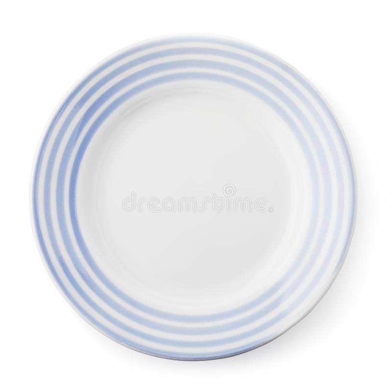 白色和蓝色空的陶瓷板材,顶视图被隔绝 库存图片