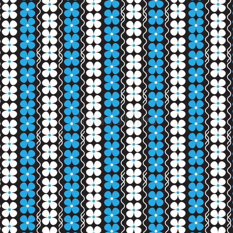 白色和蓝色花垂直镶边与白色卷曲垂直 向量例证