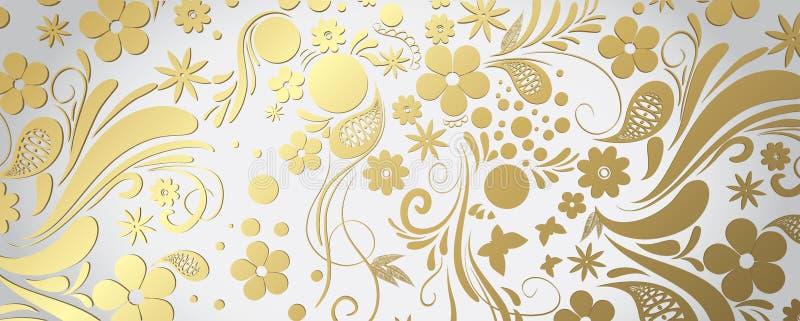 白色和金横幅 皇族释放例证