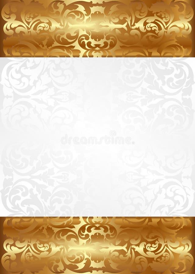 白色和金背景 皇族释放例证