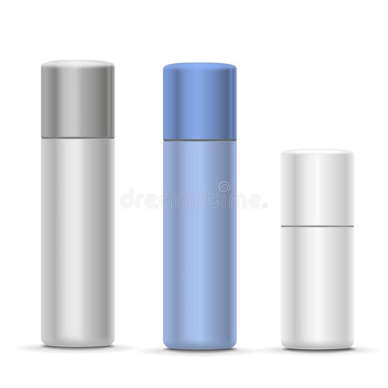 白色和银色瓶烟雾剂喷射、金属瓶化妆用品的,香水或者喷发剂 防臭剂包装 皇族释放例证