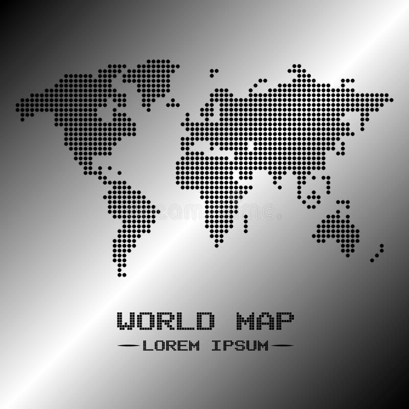 白色和黑世界地图传染媒介 图库摄影