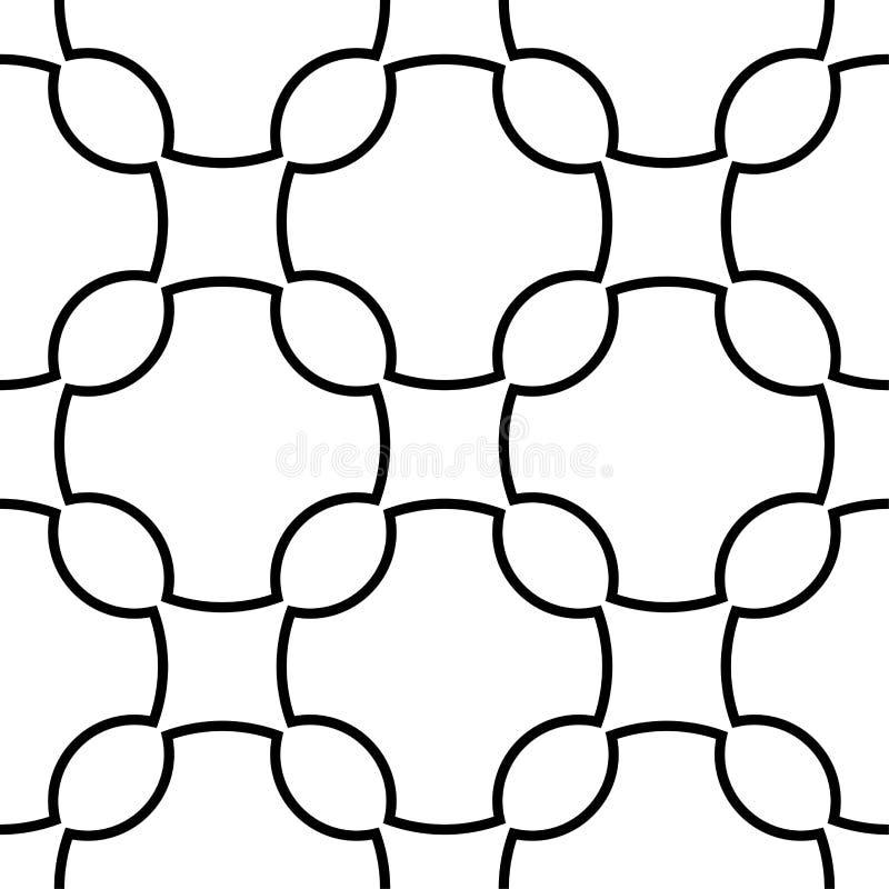 白色和黑几何装饰品 无缝的模式 库存例证