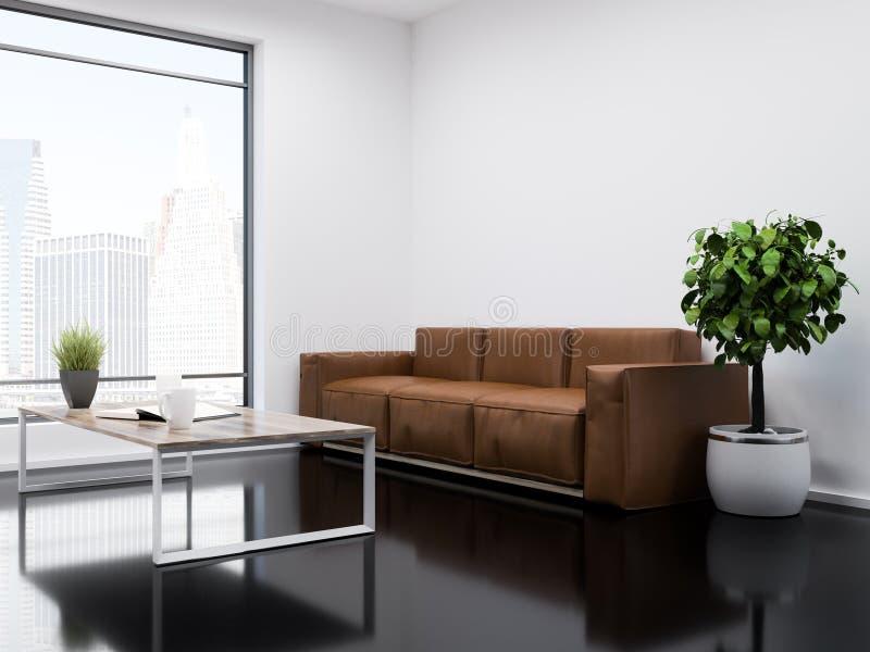 白色和黑办公室候诊室内部长沙发 向量例证
