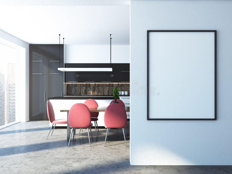 白色和黑厨房,海报框架嘲笑 向量例证