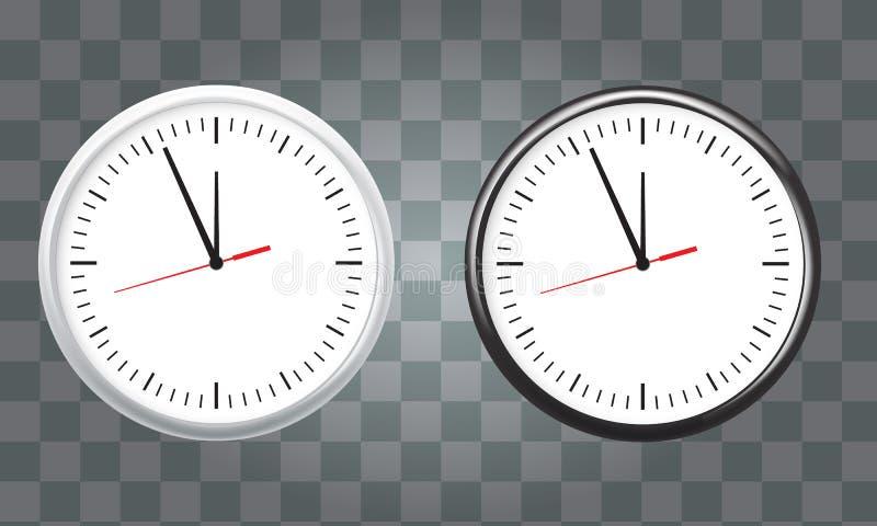 白色和黑墙壁办公室时钟象集合 显示五分钟到十二 对新年概念 向量例证