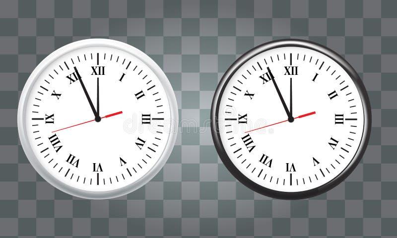 白色和黑墙壁办公室时钟象集合 显示五分钟到十二 对新年概念 库存例证
