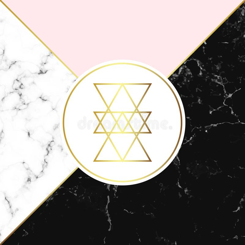 白色和黑大理石或石头纹理和桃红色背景 时髦几何海报 现代抽象卡片 您的desig的模板 皇族释放例证