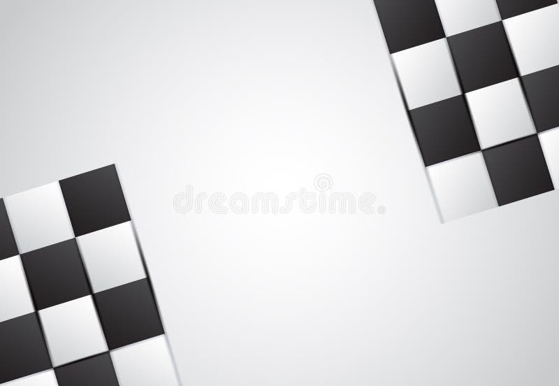 白色和黑抽象棋盘白色梯度背景 向量例证