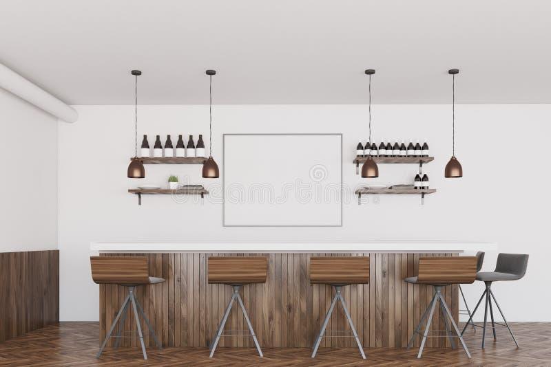 白色和黑暗的木酒吧,海报 向量例证