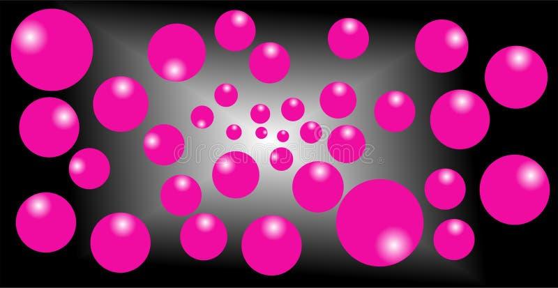 白色和黑混合物背景,桃红色气球3d作用 向量例证