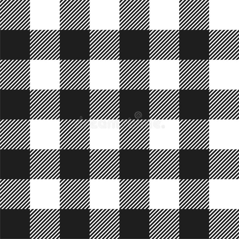 白色和黑色美洲野牛检查格子花呢披肩无缝的样式 向量例证