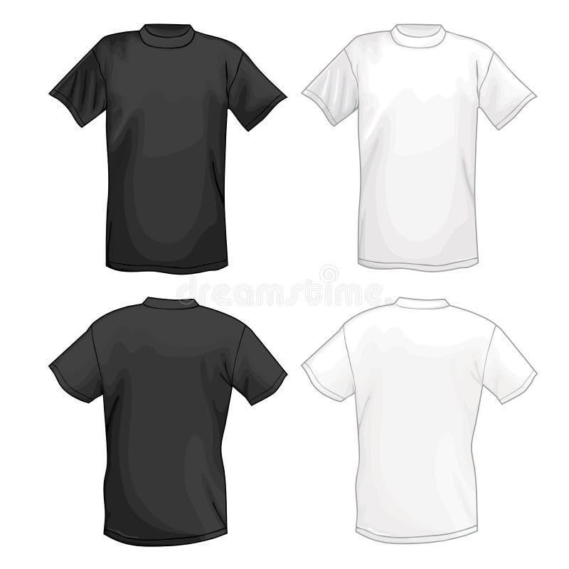 白色和黑传染媒介T恤杉设计模板(前面&后面) 皇族释放例证