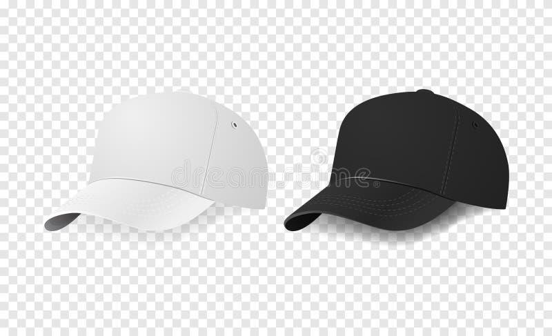 白色和黑棒球帽象集合 设计在传染媒介的模板特写镜头 烙记的大模型和做广告  向量例证