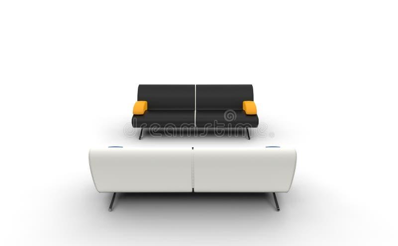白色和黑沙发 向量例证
