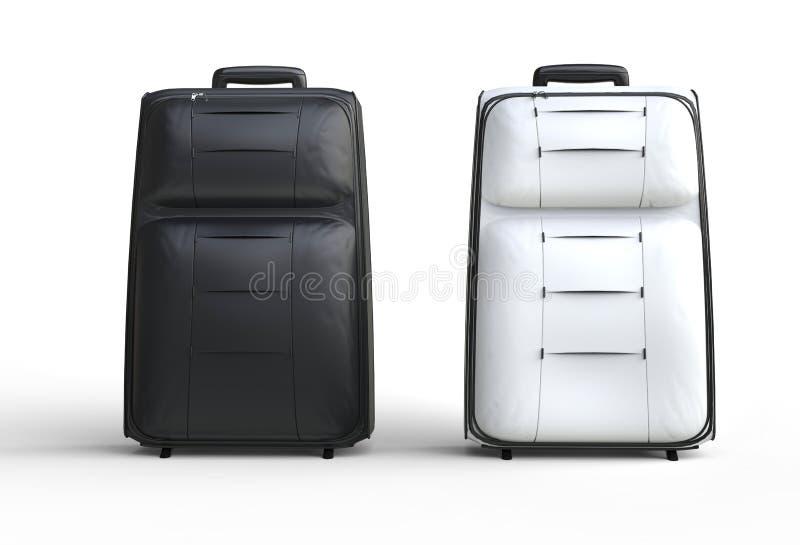 白色和黑色旅行在白色背景的行李手提箱 免版税图库摄影